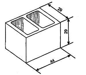 Описание: Рис.3. Бетонный блок для фундаментной и подвальной кладки (размеры в см).