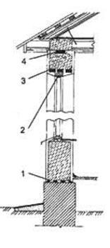 Описание:   Рис. 1. Монолитная шлакобетонная стена  1. гидроизоляиионный слой; 2. зазор, используемый для осадки стены; 3. перемычка; 4. прокладка (осмоленная доска с изоляцией)