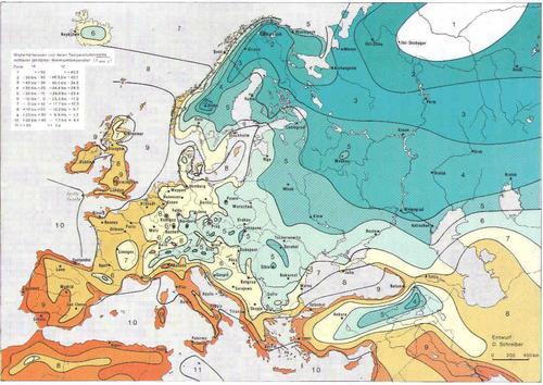 Климатическая карта Европы